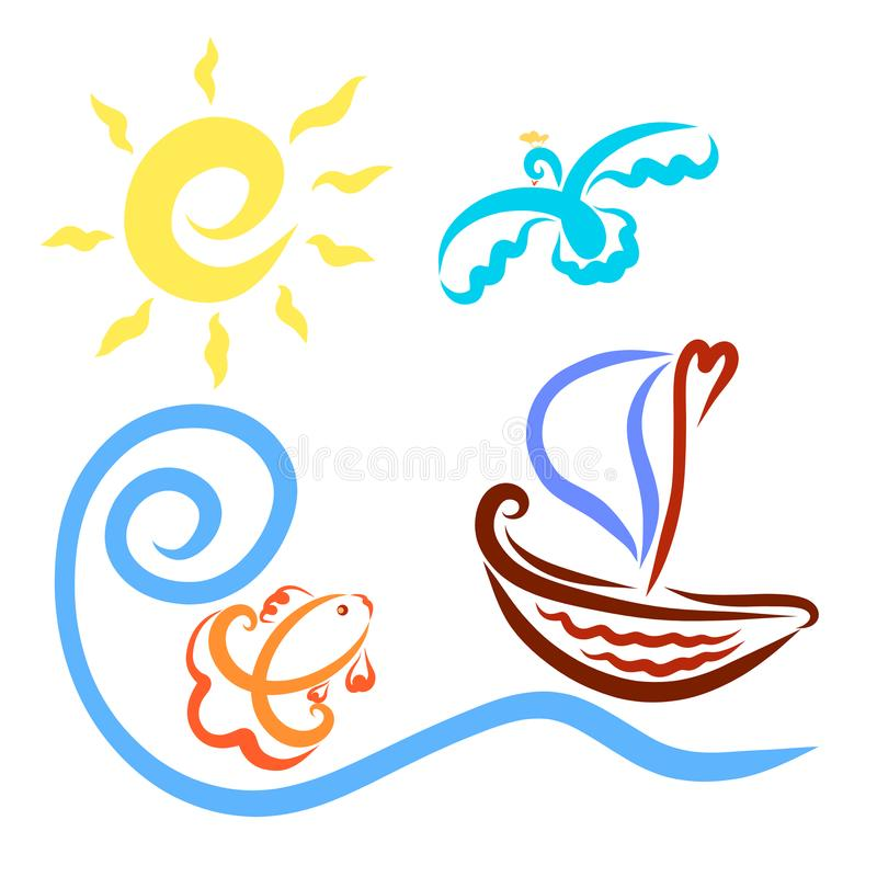 Un pequeño velero, un sol, un pez de colores y un pájaro de hadas ilustración del vector