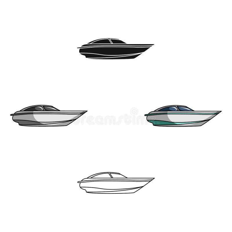 Un peque?o barco blanco con un motor Barco para la velocidad y la competencia Icono del transporte de la nave y del agua solo en  ilustración del vector