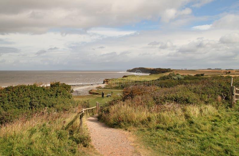 Un percorso litoraneo a Somerset Inghilterra fotografia stock