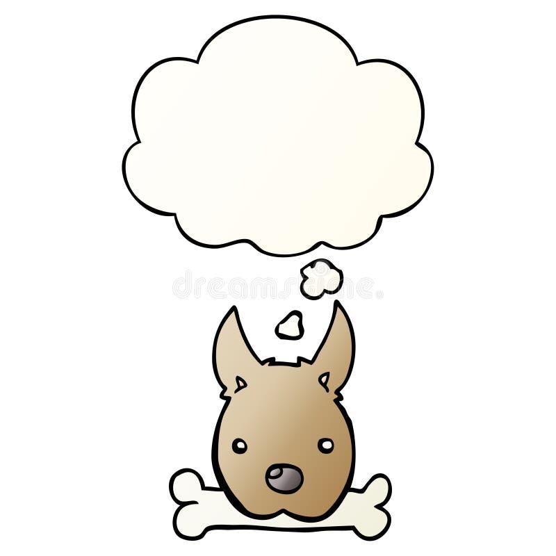 Un perro de dibujos animados creativos con hueso y burbuja de pensamiento en un estilo de gradiente suave libre illustration