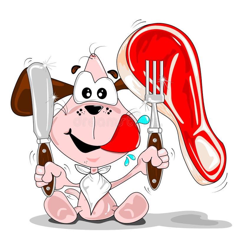 Un perro de la historieta con un filete ilustración del vector