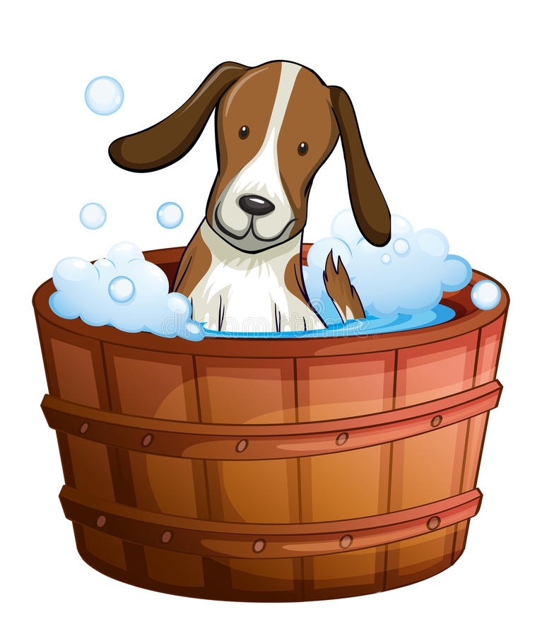 Un perro que toma un baño en la bañera ilustración del vector