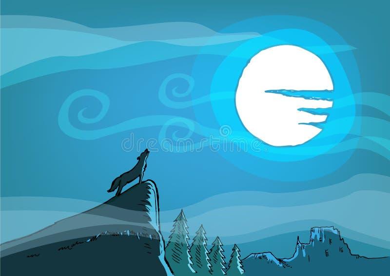 Un perro salvaje o un lobo grita en un acantilado durante una Luna Llena Clip art Editable ilustración del vector