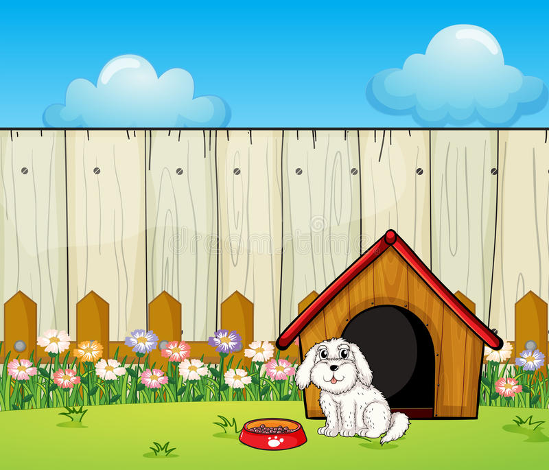 Un perro y la casa de perro dentro de la cerca stock de ilustración