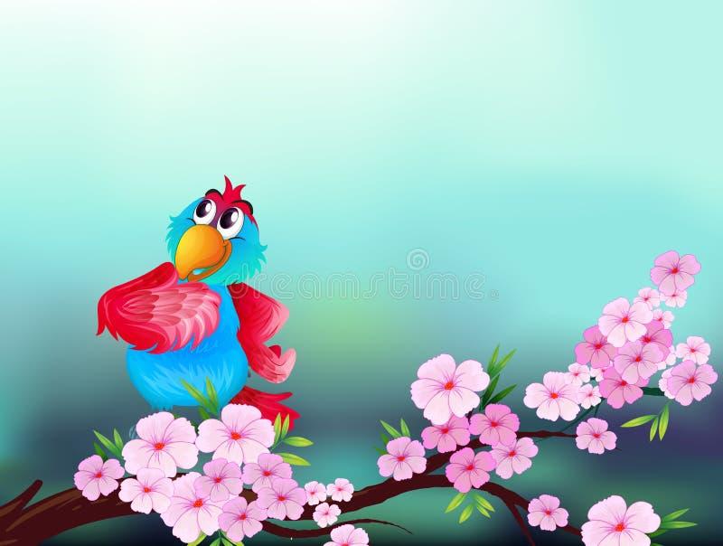 Un perroquet à la branche d'un arbre avec les fleurs roses illustration stock