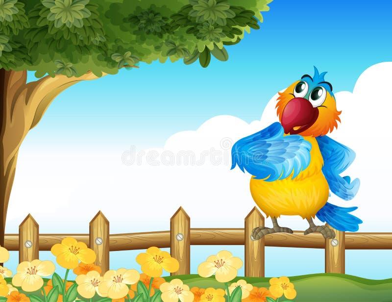 Un perroquet coloré à l'arrière-cour illustration libre de droits