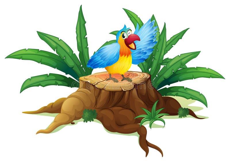 Un perroquet coloré au-dessus d'un tronçon illustration stock