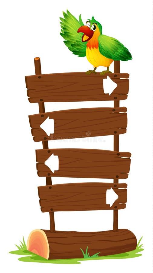 Un perroquet coloré en haut d'une enseigne en bois illustration de vecteur