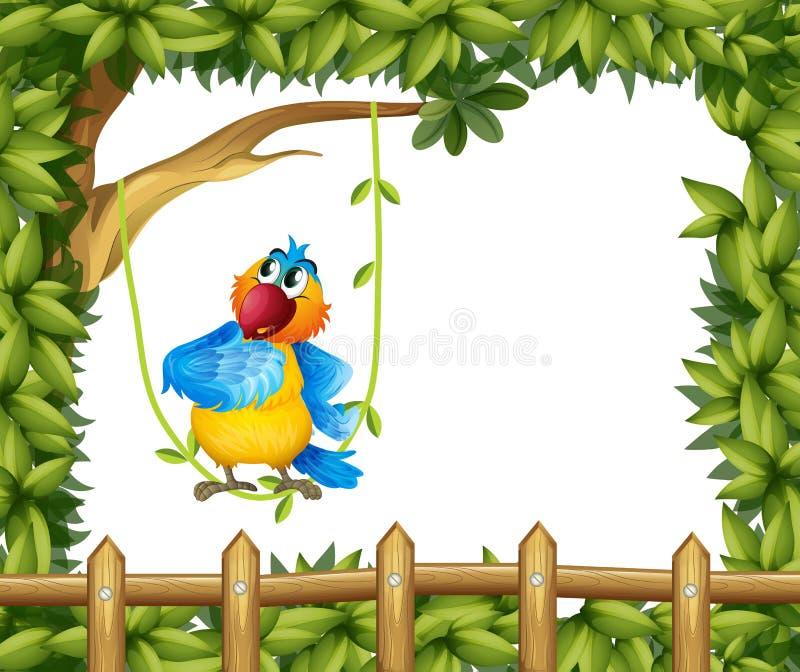 Un perroquet coloré sous un grand arbre illustration de vecteur