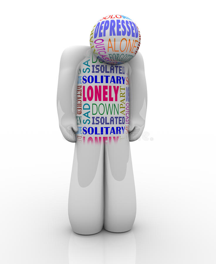 Un Person Sad Depressed seul dans la solitude illustration libre de droits