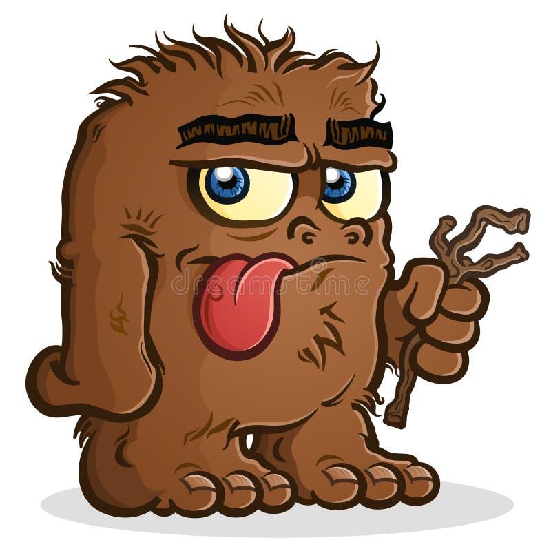 Un personaggio dei cartoni animati di Bigfoot Sasquatch che tiene un ramoscello illustrazione vettoriale