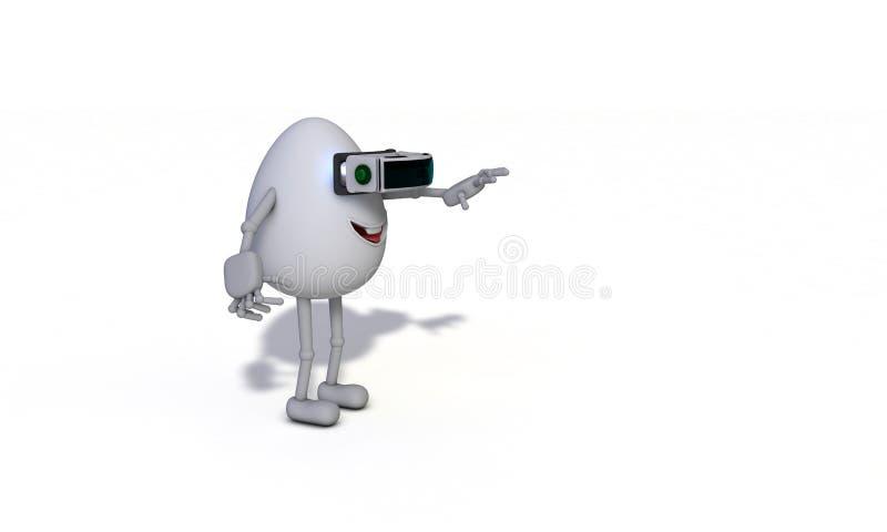 Un personnage de dessin animé appréciant avec la vue gauche de vr illustration libre de droits