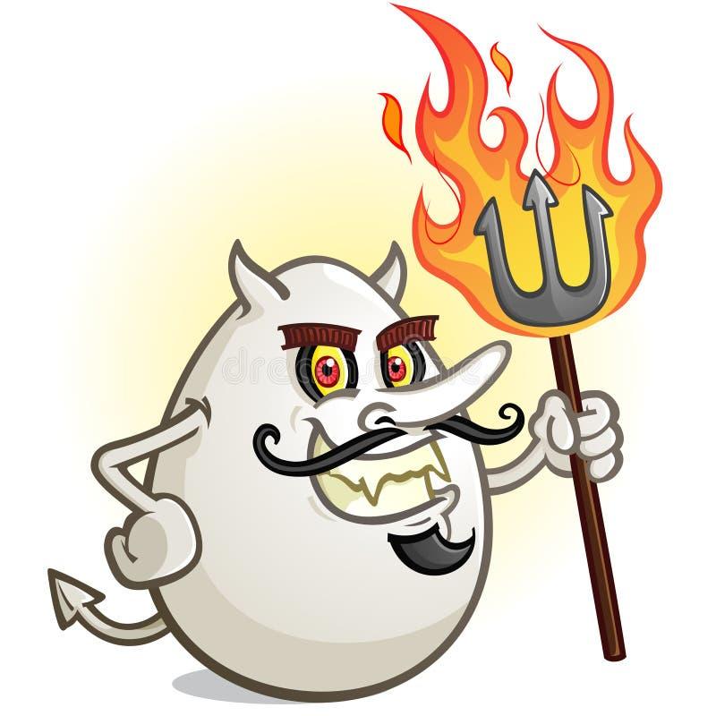 Un personnage de dessin animé d'oeufs de Deviled tenant une fourchette flamboyante de lancement illustration libre de droits
