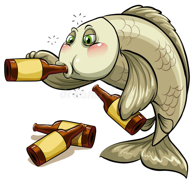 Un pescado borracho stock de ilustración