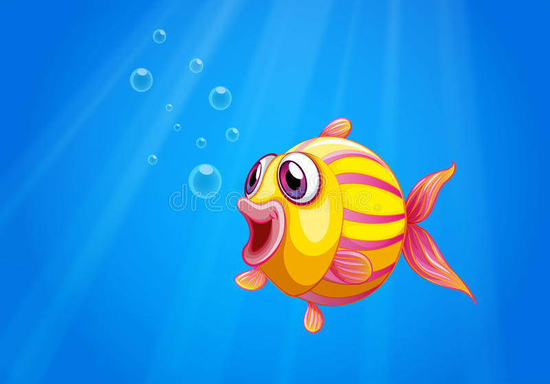 Un pescado colorido de la burbuja debajo del mar stock de ilustración