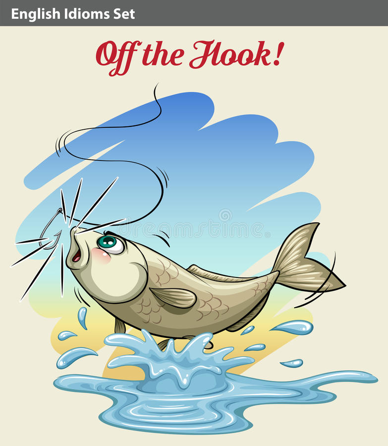 Un pescado que consigue cogido libre illustration