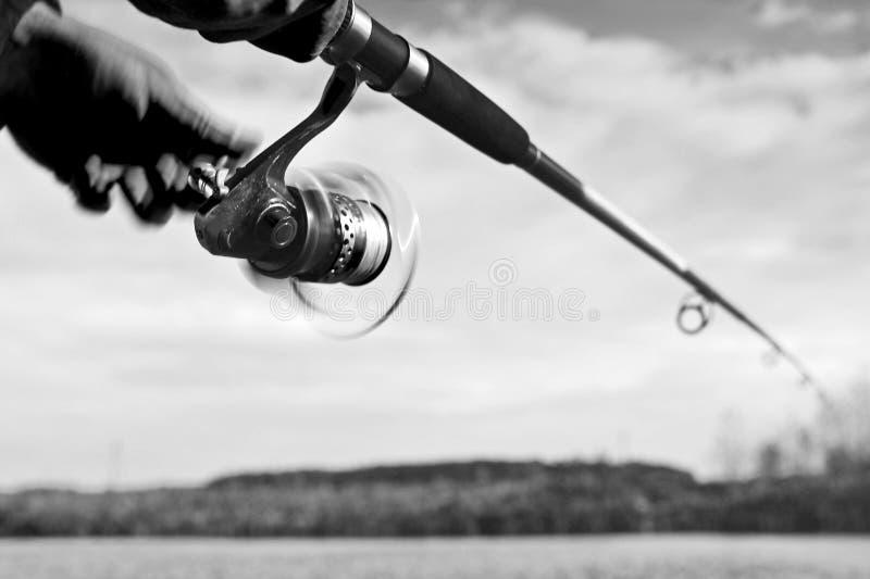Un pescador coge un pescado Primer de giro del carrete Imagen blanco y negro blurry fotos de archivo