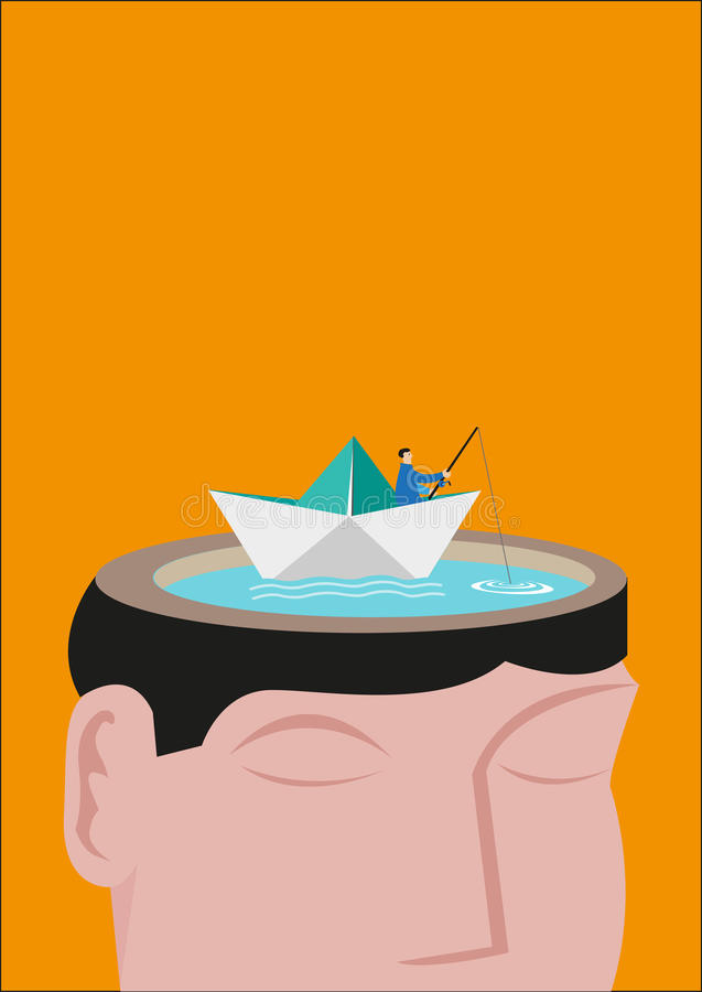 Un pescador Riding que un Paperboat flota en una cabeza hizo de un lago Concepto Editable stock de ilustración