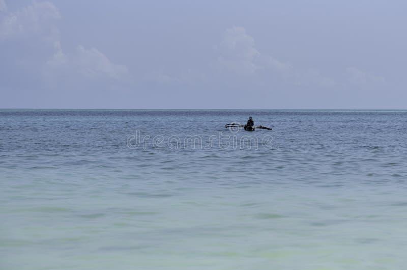 Un pescador solitario en el océano fotos de archivo