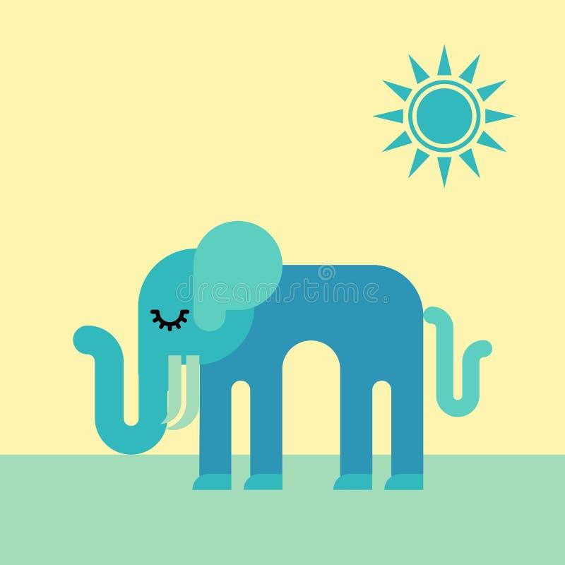 Un petit éléphant triste sous le soleil illustration de vecteur