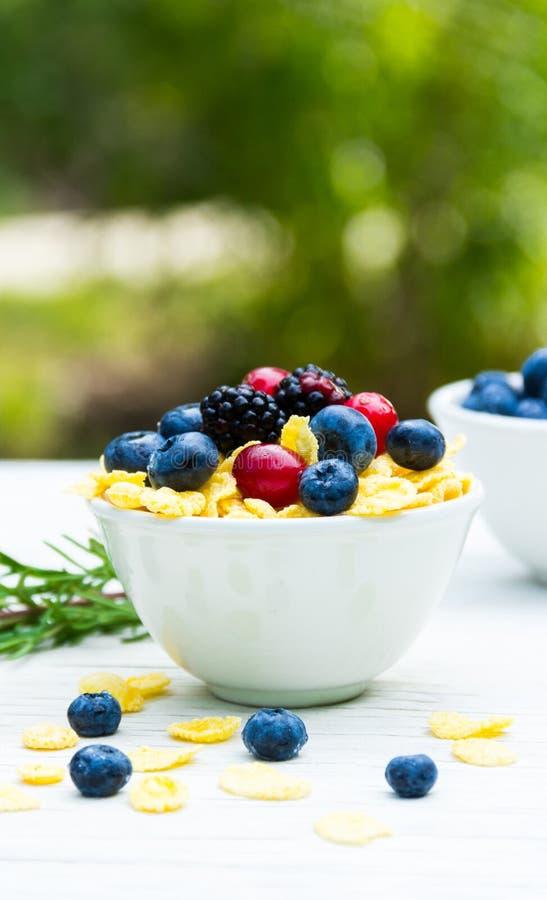 Un petit déjeuner utile dans le jardin sur une table blanche Baies de forêt et flocons d'avoine photo stock