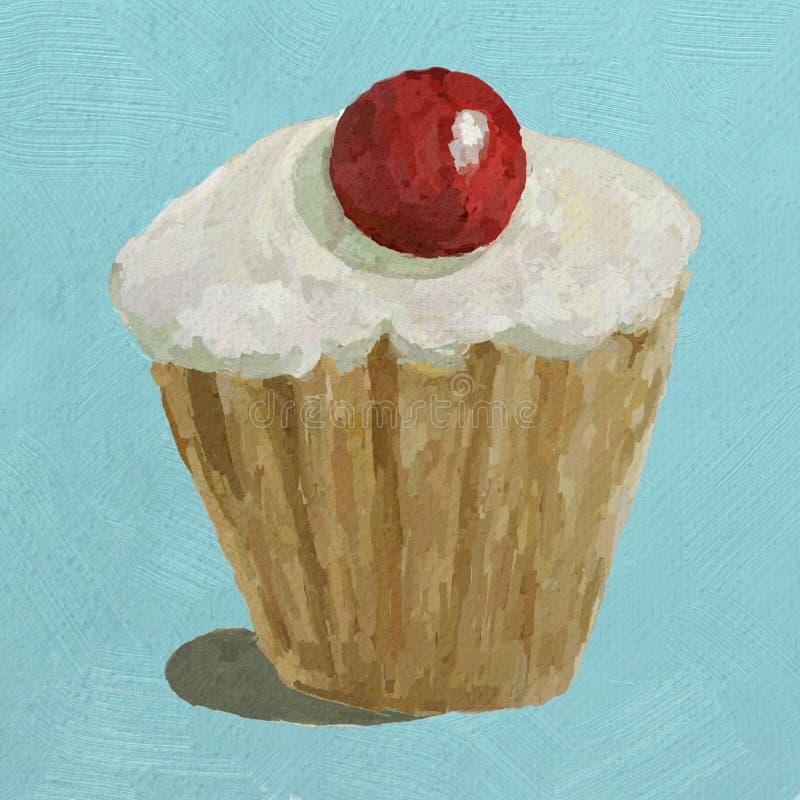Un petit gâteau glacé avec la cerise glace sur le dessus images libres de droits