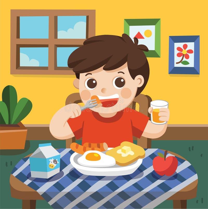 Un petit garçon heureux de manger le petit déjeuner illustration stock