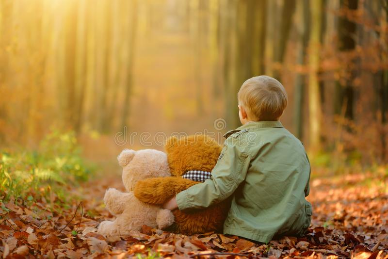 Un petit garçon triste jouant en parc d'automne photos stock