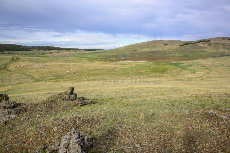 Un petit lac dans la steppe parmi l'herbe jaune photo libre de droits