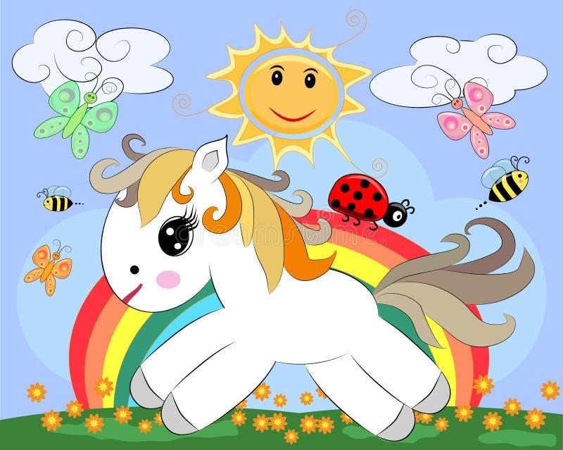 Un petit poney blanc de bande dessinée sur une clairière avec un arc-en-ciel, fleurs, le soleil illustration de vecteur