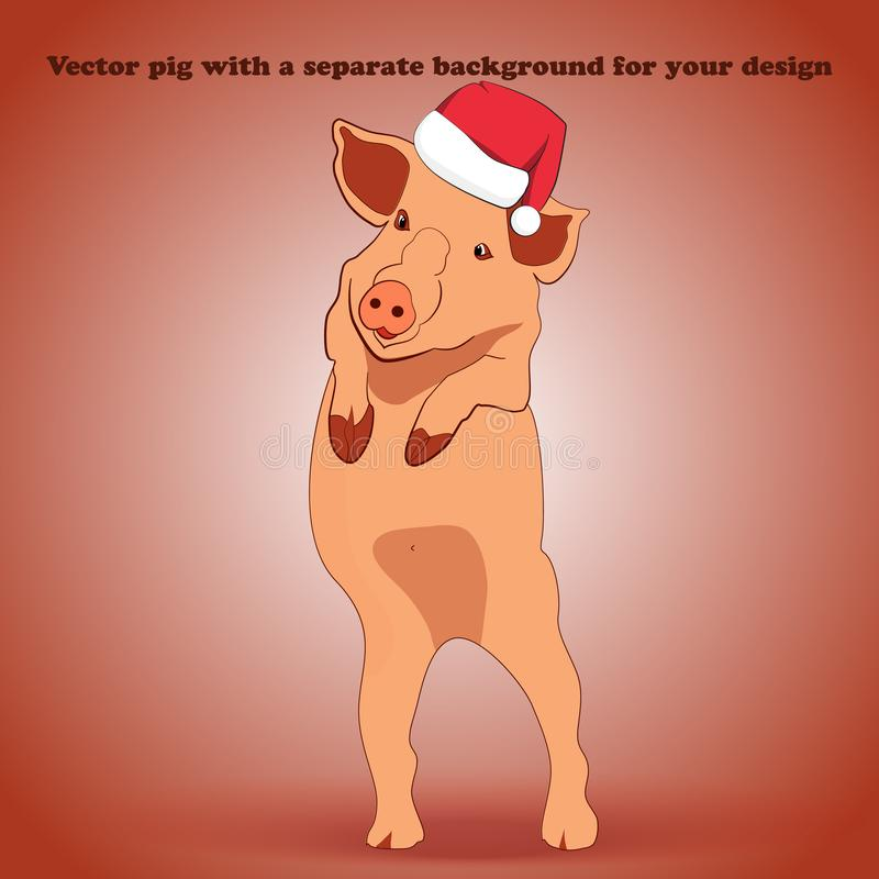 Un petit porc dans un chapeau Santa Claus est tenant et ondulant son sabot photo stock
