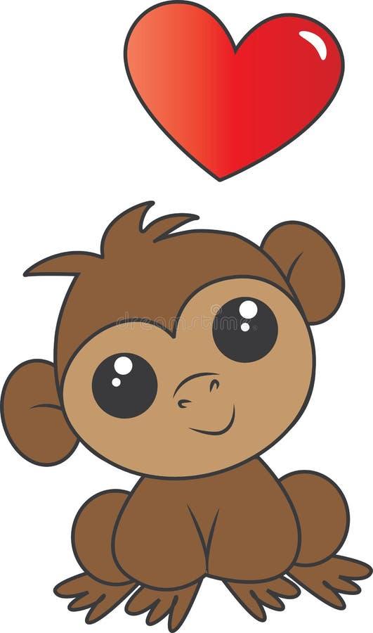 Un petit singe adorable avec un grand coeur illustration libre de droits