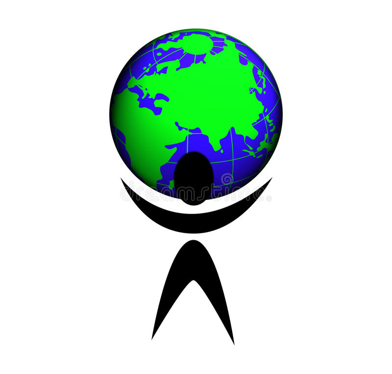Un peuple avec la terre de planète illustration libre de droits