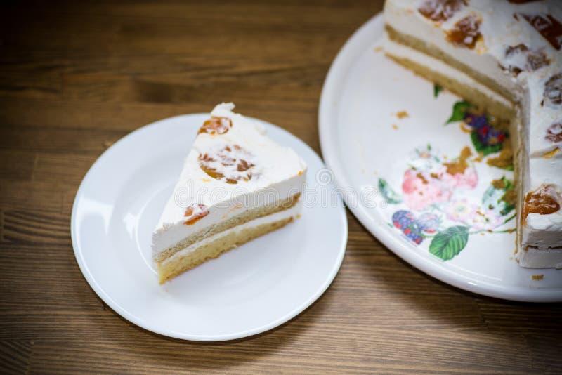 Un pezzo di dolce dolce casalingo con crema e le albicocche inscatolate immagine stock