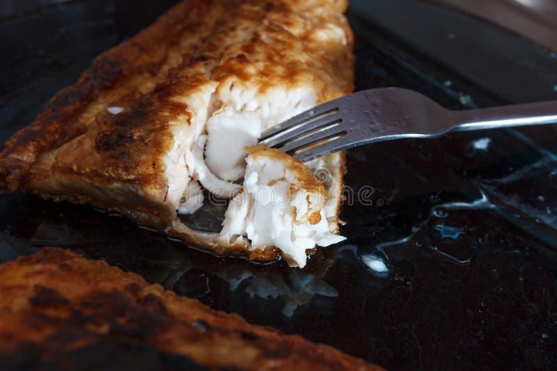 Un pezzo di fillett del pesce ha fritto in pastella immagini stock libere da diritti