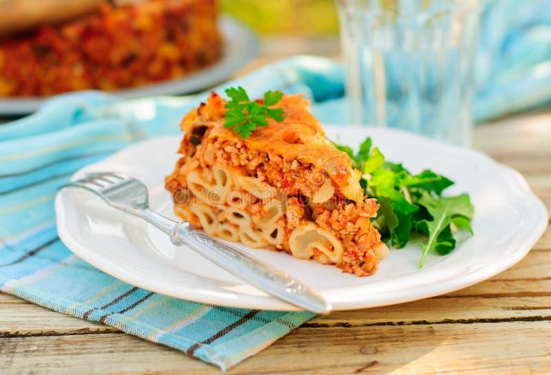 Un pezzo di pasta bolognese cuoce immagini stock libere da diritti