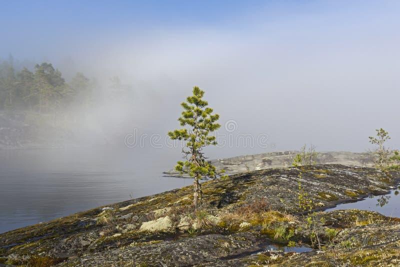 Un phénomène rare de temps - un nuage sur la surface d'un lac dessus photographie stock