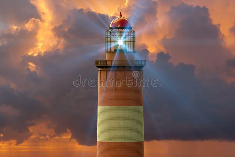 Un phare contre un coucher du soleil illustration libre de droits