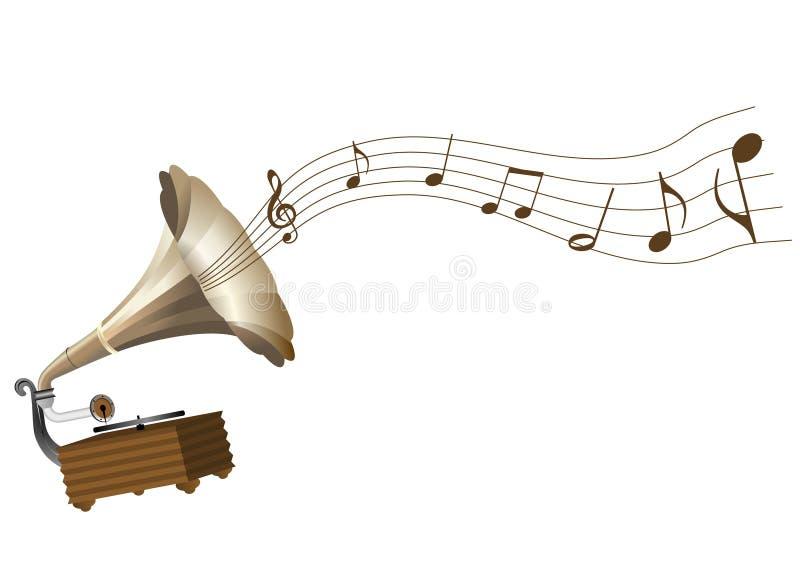 Un phonographe grunge et une rayure illustration de vecteur