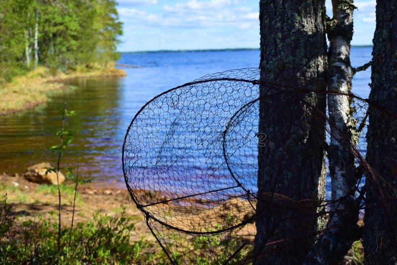 Un piège de poissons sur un rivage de lac images libres de droits