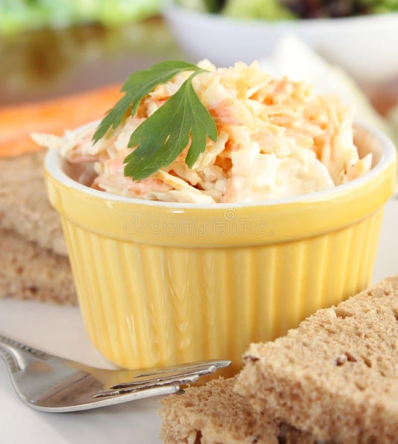 Un piatto di insalata di cavoli fotografie stock