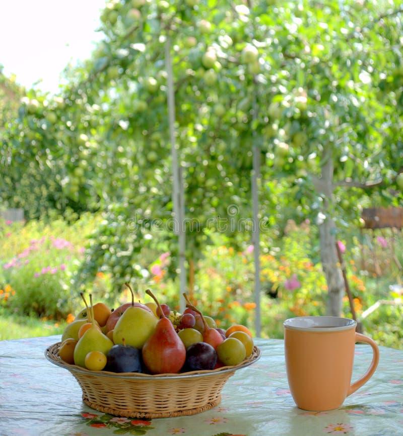 Un piatto di vimini con le bacche fresche ed i frutti e una tazza con il supporto del caffè nero su una tavola su un fondo vago fotografia stock libera da diritti