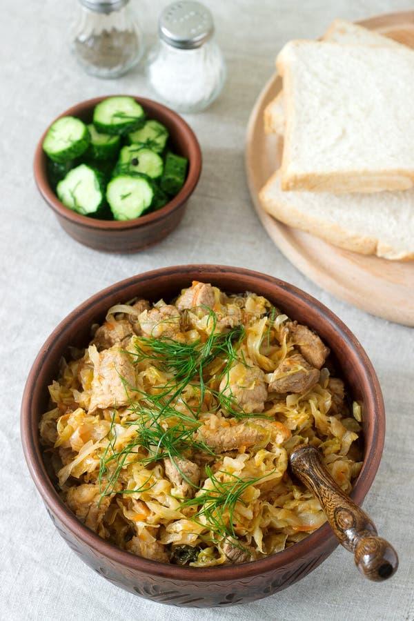 Un piatto tradizionale di alcuni paesi europei è bigos fatti da cavolo, da altre verdure e da carne fotografia stock libera da diritti