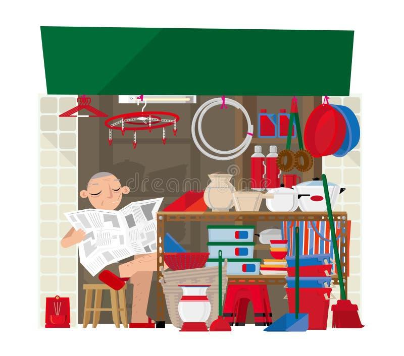 Un piccolo deposito di prodotti per la casa in Hong Kong illustrazione vettoriale