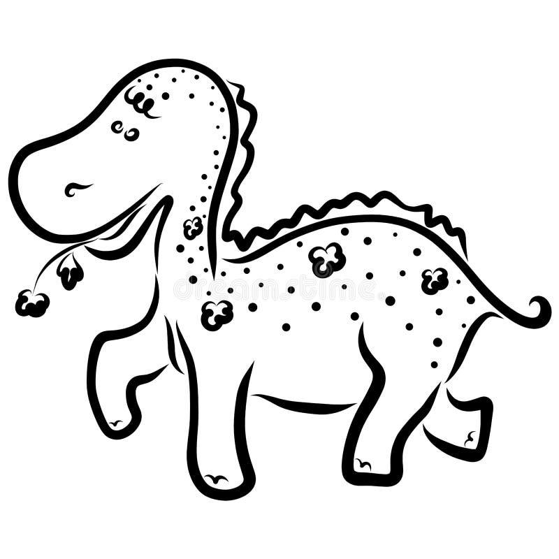 Un piccolo dinosauro allegro in fiori, portanti un fiore royalty illustrazione gratis