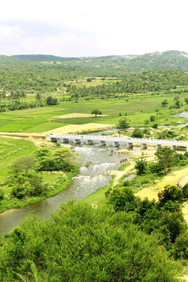 Un piccolo fiume con il ponte della strada del villaggio fotografia stock libera da diritti
