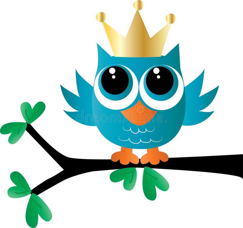 Un piccolo gufo adorabile blu con una corona dorata illustrazione vettoriale