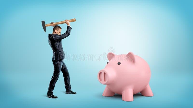 Un piccolo imprenditore tiene un martello pesante sopra la sua testa per rompere un grande porcellino salvadanaio immagine stock
