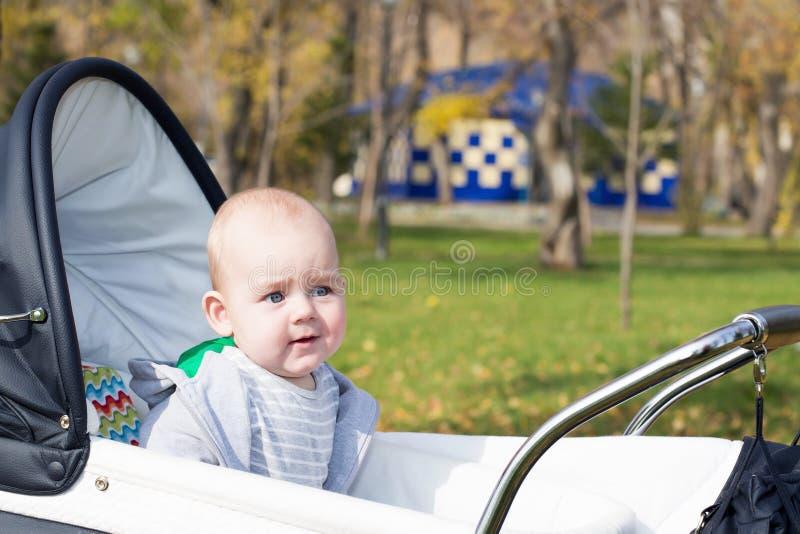 Un piccolo neonato divertente in carrozzina fotografia stock