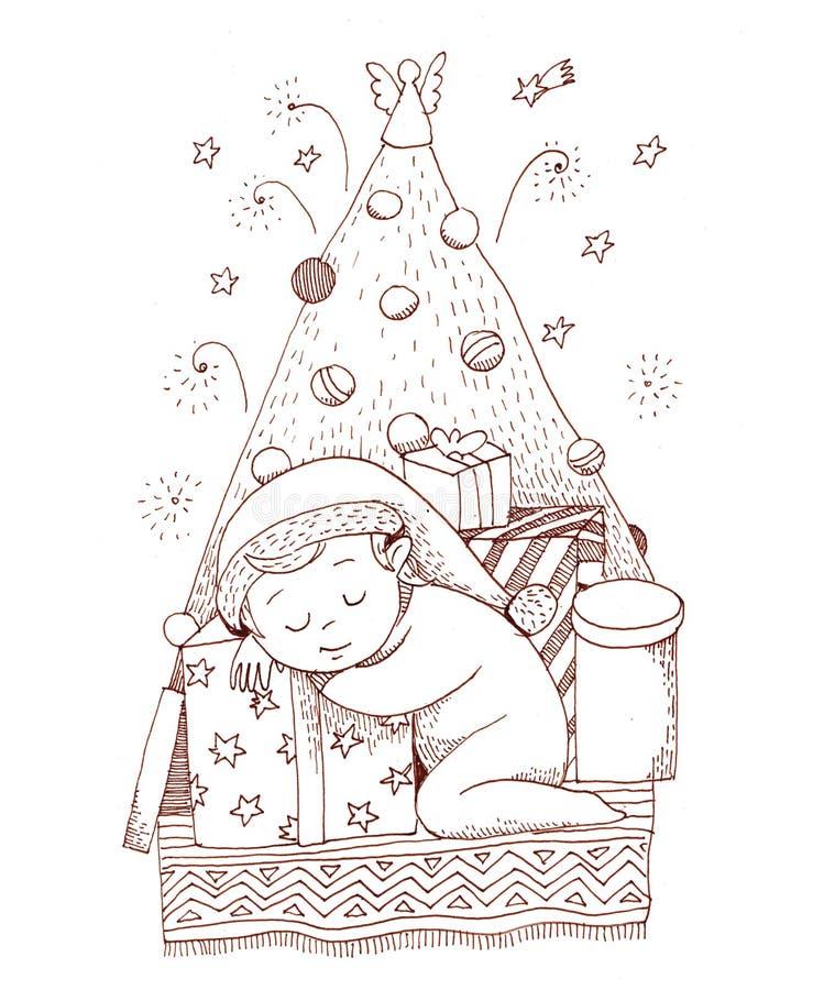 Un piccolo neonato dorme sul contenitore di regalo vicino all'albero di Natale illustrazione di stock